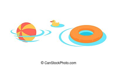 Inflatable Toys For Swimming In The Pool Vector. -...