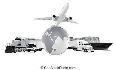 World Wide Cargo Transport isolated on white background. 3D...