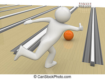 Bowling - Sports collection - 3d characters isolated on...