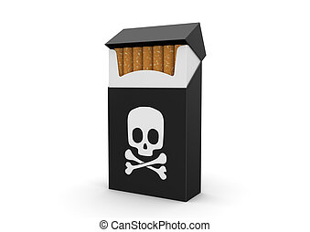Smoking kills - 3d objects isolated on white background...