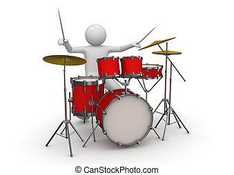 Drummer - Music ciollection - 3d characters isolated on...