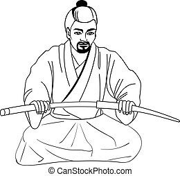 Vector illustration of a Japanese samurai sitting on his lap...
