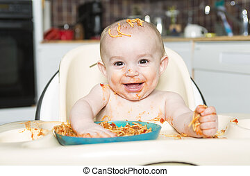 Little b eating her dinner and making a mess - A Little b...
