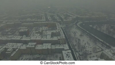Aerial: Wroclaw in winter, Poland