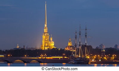 The Peter and Paul Fortress day to night timelapse is the original citadel of St. Petersburg, Russia