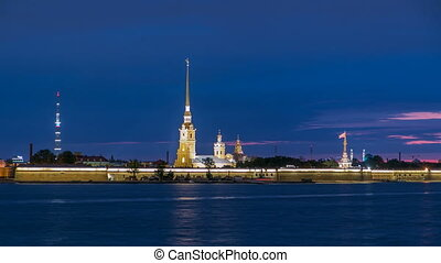 The Peter and Paul Fortress night timelapse is the original citadel of St. Petersburg, Russia