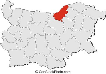 Map - Bulgaria, Ruse - Map of Bulgaria with the provinces,...