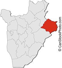 Map - Burundi, Cankuzo - Map of Burundi with the provinces,...