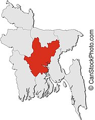 Map - Bangladesh, Dhaka - Map of Bangladesh with the...