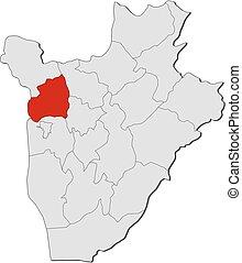 Map - Burundi, Bubanza - Map of Burundi with the provinces,...