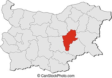 Map - Bulgaria, Sliven - Map of Bulgaria with the provinces,...