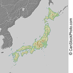 Relief map of Japan - 3D-Rendering
