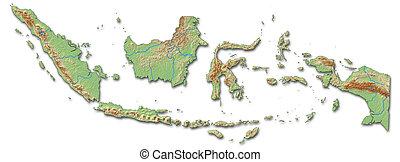 Relief map of Indonesia - 3D-Rendering