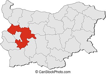 Map - Bulgaria, Sofia Province - Map of Bulgaria with the...