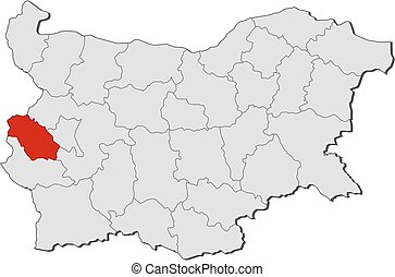 Map - Bulgaria, Pernik - Map of Bulgaria with the provinces,...