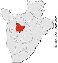 Map - Burundi, Muramvya - Map of Burundi with the provinces,...