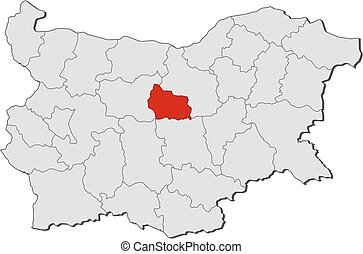 Map - Bulgaria, Gabrovo - Map of Bulgaria with the...