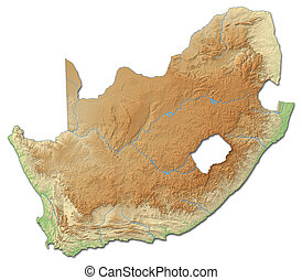 Relief map of South Africa - 3D-Rendering