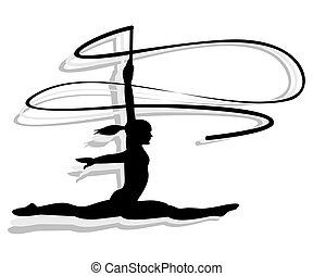 Artistic gymnastics Woman silhouette. Woman jumping with...