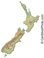 Relief map of New Zealand - 3D-Rendering