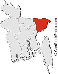 Map - Bangladesh, Sylhet - Map of Bangladesh with the...