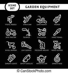 Set line icons of garden equipment isolated on black. Vector...