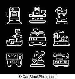 Set line icons of machine tool isolated on black Vector...