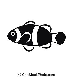 Cute clown fish icon, simple style - Cute clown fish icon in...