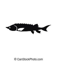 Fresh sturgeon fish icon, simple style - Fresh sturgeon fish...