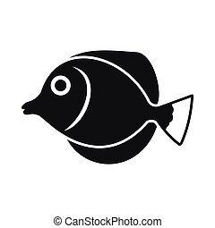 Tang fish, Zebrasoma flavescens icon in simple style...