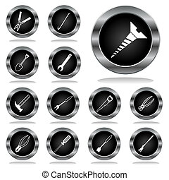 Black buttons on a theme tools. A vector illustration