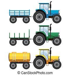 Set of farm tractors with wagons. - Set of farm tractors...