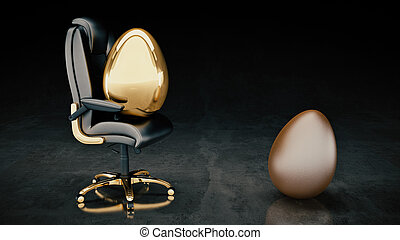 golden egg concept business. 3d rendering