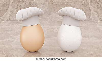 chef egg concept cook 3d rendering