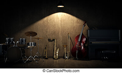 music instruments. 3D Rendering