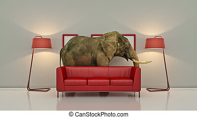 lone elephant in the room. Creative concept. 3D Rendering