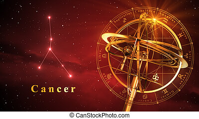 Armillary Sphere And Constellation Cancer Over Red...