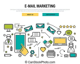 E-mail marketing line concept - Vector line thin concept of...