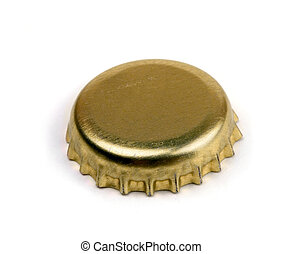 Bottle cap - Golden bottle cap isolated on white