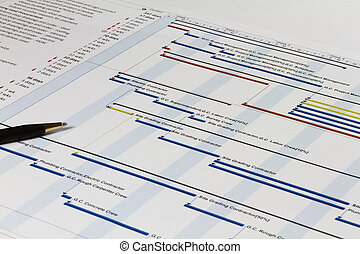 Gantt Chart with Pen on Left - Detailed Gantt Chart showing...