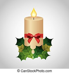 Candle leaves bowtie icon. Merry Christmas design. Vector...