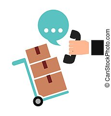 Package phone bubble icon. Delivery and Shipping design....