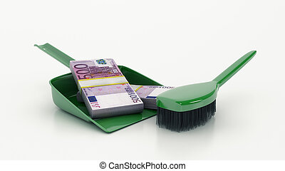 Cleaning concept dustpan or scoop and brush 3d