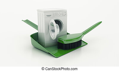 Cleaning concept. dustpan or scoop and brush. 3d