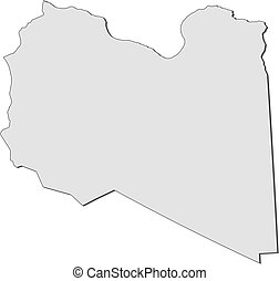 Map - Libya - Map of Libya, filled in gray