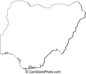 Map - Nigeria - Map of Nigeria, contous as a black line