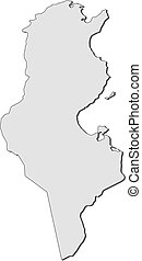 Map - Tunisia - Map of Tunisia, filled in gray