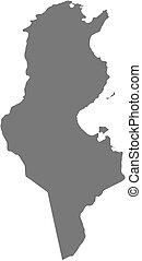 Map - Tunisia - Map of Tunisia as a dark area