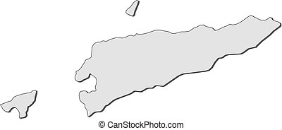 Map - East Timor - Map of East Timor, filled in gray