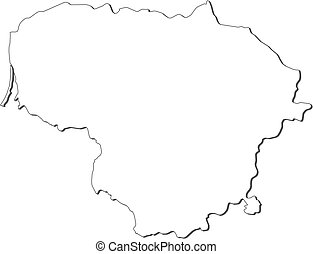 Map - Lithuania - Map of Lithuania, contous as a black line.